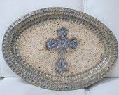 Oval tray, plate with cross, blue and white