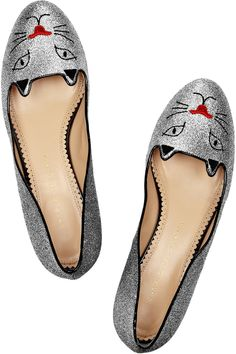Charlotte Olympia Glitter Kitty embroidered glitter-finished slippers NET-A-PORTER.COM