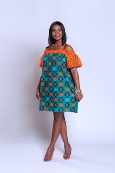 Ankara off-shoulder baby-doll dress African print dress
