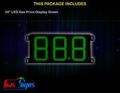 24 Inch 88.8 LED Gas Price Display Green with housing dimension H710mm x W1344mm x D55mmand format 88.8 comes with complete set of Control Box, Power Cable, Signal Cable & 2 RF Remote Controls (Free remote controls).