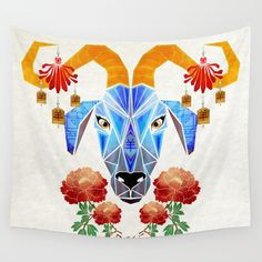 chinese goat Wall Tapestry. #animals #illustration #nature #digital