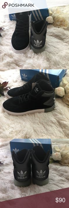 Adidas Sneakers  Last Pair  Brand new with tags authentic Adidas Sneakers. Black suede material with silver mesh detail in the back these shoes are dope!! Adidas Shoes Sneakers