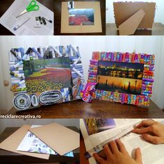 Photo frames made from tetra pak and magazine pages- tutorial Tetra Pak, Art For Kids, Crafts For Kids, Arts And Crafts, Diy Crafts, Wall Art Crafts, Diy Wall Art, Colorful Frames, Newspaper Crafts