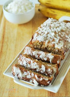 Vegan Banana Bread With Coconut Glaze