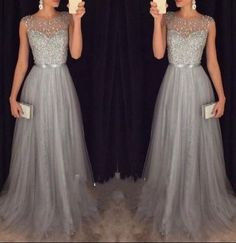 Sparkly Grey Beading Tulle Prom Dresses,Evening Dresses,Evening Gown,Prom Dress 2016