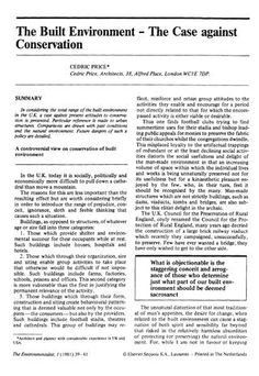 The Built Environment - The Case against Conservation by CP, 1981