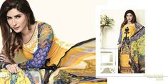 Womens Fashion Pakistani Designer Suits Haute Couture for work / Party and Casual wear- Aeisha Varsey collection. In Yellow Mustard and Blue Latest Summer Pakistani Luxury Lawn Collection. Embroidered Lawn Shirt with Pure Chiffon Dupatta and Lawn Trouser.