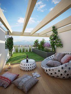 New garden terrace ideas diy patio Ideas Terrasse Design, Diy Terrasse, Patio Design, House Design, Rooftop Terrace Design, Rooftop Patio, Small Backyard Landscaping, Backyard Ideas, Garden Ideas