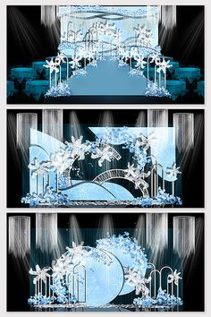 Blue theme romantic wedding effect picture Wedding Backdrop Design, Wedding Stage Design, Reception Backdrop, Wedding Designs, Wedding Ceiling Decorations, Wedding Flower Decorations, Pink Blue Weddings, Wedding Drawing, Marriage Decoration
