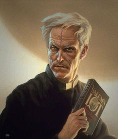 Father Callahan a painting by Michael Whelan portraying David the current owner of Betts Bookstore (specialized in Stephen King) and probably the biggest Dark Tower collector as an inspiration for Father Callahan! #stephenking #thedarktower #michaelwhelan #fantasy #stephenkingsartwork #salemslot