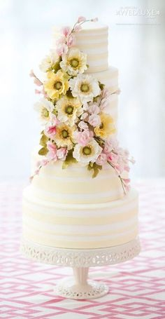 "Classic and Elegant Wedding Cakes - MODwedding | ""Cream"" & White Striped Round Multi Tier STUNNING Cake + Incredible Sugar Floral ""Cake Corsage"".............................................."