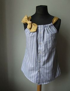 "Sew Men Clothes The Best tutorials for ""How to UPCYCLE men's SHIRTS"" - Upcycled Dress Shirt - This upcycled dress shirt is a fantastic idea. You can take any unused dress shirt and necktie and create a fabulous new tank top. Read on for the tutorial. Shirt Diy, Refashioned Mens Dress Shirt, Refashioned Clothes, Shirt Dress Diy, Shirt Dress Tutorials, Dress Shirts, Diy Clothes Refashion, Upcycle Shirts, Men's Shirt Refashion"