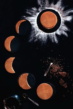 Creative use of representing the different phases of the moon with Waffles.