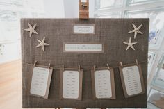 Such a gorge table plan - hessian plus starfish! © kirstinprisk.co.uk