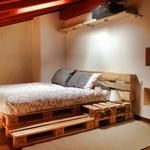 Nic and I want to make a pallet bed frame for our bed. I love the lights underneath!