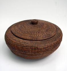 Native American Inuit Indian Baleen Lidded Basket