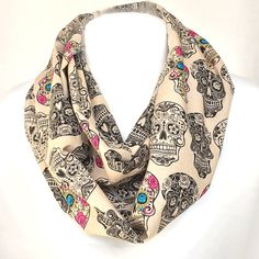 Skull Scarf, Sugar Skull Infinity Scarf, Beige Skull Fabric, Flower Skull Fabric, Skull Circle Scarf, Geeky Scarf, The Day of the Dead Scarf