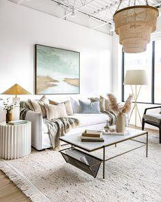 Sage Living Room, Modern White Living Room, Coastal Living Rooms, Living Room Colors, Living Room Decor, Condo Living Room, Living Spaces, Living Furniture, Large Furniture