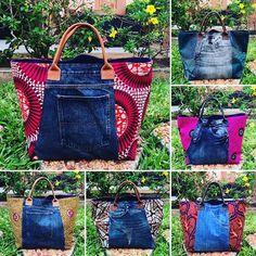 L.E cabas jean et pagne #wax #vlisco #pagnifik African Accessories, Bag Accessories, African Print Fashion, Fashion Prints, Blue Jean Purses, Ankara Bags, Shabby Chic Stil, Diy Sac, Denim Tote Bags