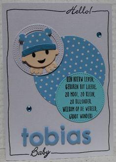 Gemaakt door Joke # geboortekaartje met Baby, Tobias geboren