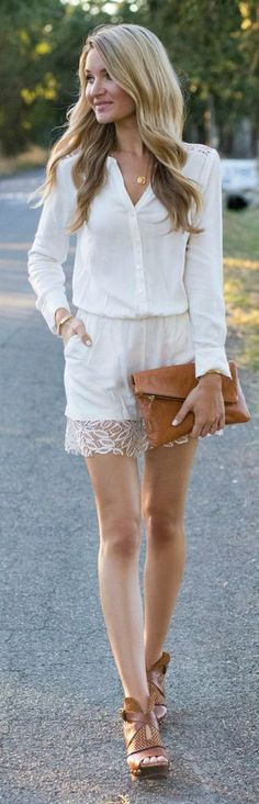 Blonde Expeditions White Little Romper