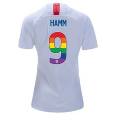 b2576eef7 2018 2019 Women s Mia Hamm White Red Jersey USA Rainbow-Colored Numbers  Soccer