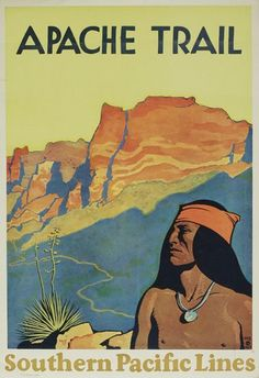 Maynard Dixon (1875-1946) Apache Trail / Southern Pacific. 1928.