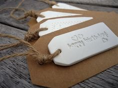 Gift Tag with Clay Ornaments Set of 4 by MYMIMISTAR on Etsy
