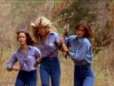 Farrah Fawcett, Kate Jackson, and Jaclyn Smith in Charlie's Angels Jacklyn Smith, Good Morning Angel, Action Tv Shows, Shelley Hack, Detective Series, Kate Jackson, Cheryl Ladd, Farrah Fawcett, European Fashion