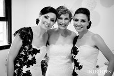 Love the black lace contrast on the bridesmaid dresses