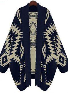 Navy Batwing Geometric Cardigan Sweater S172 on Wanelo; super cozy-looking
