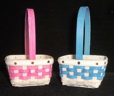 """Our 2020 Micro Mini Easter Basket is available in two colors! These adorable little treasures are whitewashed with either pink or blue weave. Stationary Handle.  2. 1/8"""" x 2. 1/8"""" x 1.25""""  (measurements may vary and do not include handle).  $28.00 Blue Weave, Easter Baskets, Pink Blue, Stationary, Weaving, Miniatures, Handle, Colors, Crafts"""