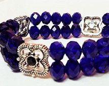 Blue Capri Crystal Stacked Layered Beaded Stretch Bracelet-Distinctive Handmade Crystal Gemstone Jewelry-Womens Bracelet-Wedding Jewelry