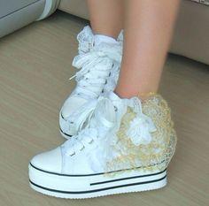Woman School Mid Platform Heel Canvas Lace Flower Sneakers Tennis Shoes Bridal on AliExpress.com. 10% off $31.49