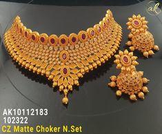 Jewelry Design Earrings, Gold Earrings Designs, Gold Jewellery Design, Necklace Designs, Gold Jewelry, Bridal Necklace, Bridal Jewelry, Gold Choker, Gold Necklace