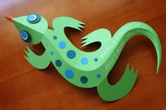These were intended to be gift tags, but my boys would enjoy these 3D lizards just to play with too :) Template here