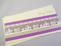 Grußkarte Weihnachtsstadt lila von Frollein KarLa auf DaWanda.com