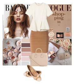 """Beige tones"" by rom-julia ❤ liked on Polyvore featuring Balmain, Alexander Wang, Givenchy, Michael Kors, Vera Wang and NARS Cosmetics"