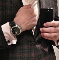 Suit + Panerai, ferragamo cufflinks French cuffs.
