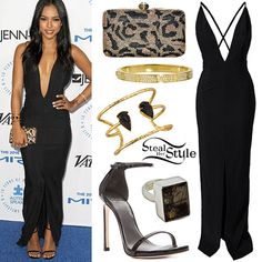 Karrueche Tran attended The Autism Speaks to LA Celebrity Chef Gala last night wearing a Solace London Revelation Maxi Dress (Sold Out), leopard crystal Laura Kasti Charm Clutch ($57.00), a pair of Stuart Weitzman Nudist Sandals ($306.00), a Cartier LOVE Diamond-Paved Bracelet ($40,400.00), a Charles Albert Alchemia Hercules Arrowhead Cuff ($105.00), and a Charles Albert Tourmalinated Quartz Ring ($135.00, similar style).  Get the look with a Solace London Irvin Maxi Dress ($64.49)