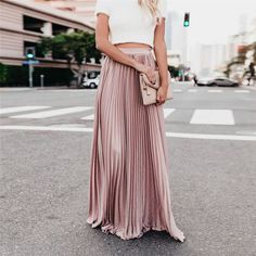 High Waist Women Lady Fold Soild Vintage Loose Beach Wrap Long Skirt Color Black Size S Boho Summer Dresses, Trendy Dresses, Womens Maxi Skirts, Pleated Maxi, Plus Size Maxi Dresses, Looks Cool, Skirt Outfits, Casual Outfits, Skirt Fashion
