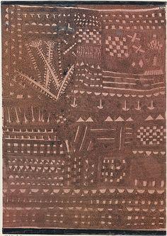 A la manera de un tapiz de cuero  Paul Klee (alemán (nacido en Suiza), Münchenbuchsee 1879-1940 Muralto-Locarno)  Fecha: 1925 Medio: Tinta y témpera sobre papel salpicado Dimensiones: H. 10-1/2, 7-1/4 pulgadas W. (26,7 x 18,4 cm.) Clasificación: Dibujos Línea de crédito: Regalo del Sr. y la Sra. Daniel Saidenberg, 1981