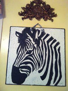 zebra painted on ceiling tile