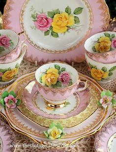 Pink with yellow and pink flowers tea set.