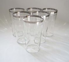 Vintage Silver Rimmed Cocktail Glasses, Set of 6, Mid Century Water Tumblers, Retro Barware