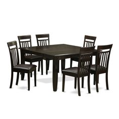 PFCA7-CAP Cappuccino Dinette Table with Leaf and 6 Dining Chairs