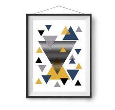 Colorful Printable Art, Mustard Navy Print, Geometric Art, Nursery Print, Abstract Print, Triangles Poster, Digital Download, DIY Wall Decor by PrintAvenue