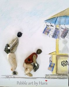 Laborers who read newspapers at the kiosk pebble art by Hara