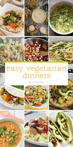 Vegetarian Dinners These quick and easy vegetarian dinners (plus plenty of vegan options) are all ready in 30 minutes or less.These quick and easy vegetarian dinners (plus plenty of vegan options) are all ready in 30 minutes or less. Tasty Vegetarian, Clean Eating Vegetarian, Easy Vegetarian Dinner, Vegetarian Cooking, Healthy Eating, Vegetarian Breakfast, Eating Clean, Vegan Meals, Veggie Dishes
