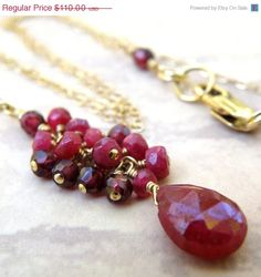 Cluster Ruby Necklace Gold Filled Red Gemstone Stone por fineheart